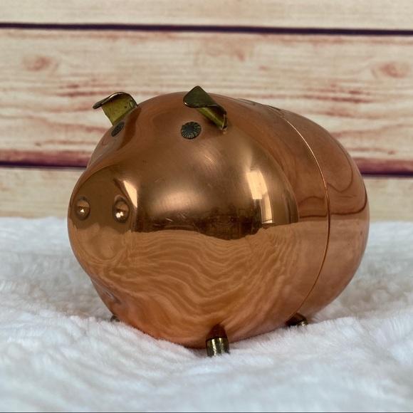 Vintage Copper Piggy Bank Coppercraft Guild Brass